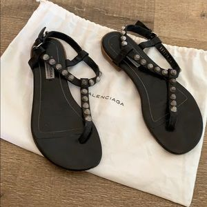 balenciaga black leather silver studded sandals